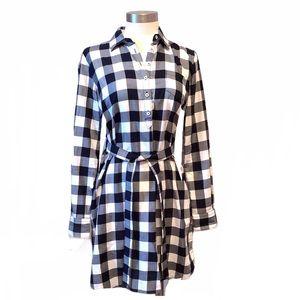 Brooks Brothers Black and White Check Shirt Dress